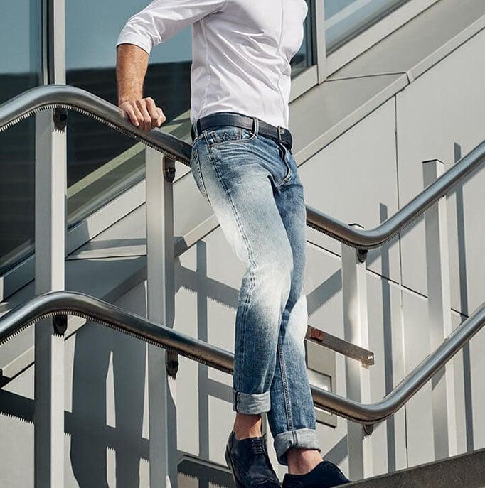 Model wearing alberto jeans